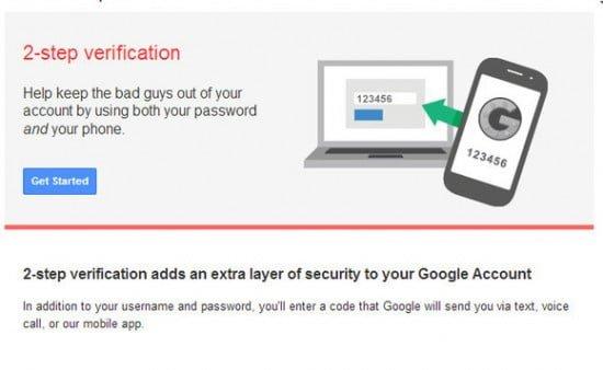 autenticación de dos pasos en google
