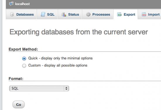 phpmyadmin database export screenshot e1366749574851
