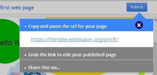 thimble page publish
