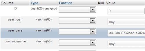 cambiar contraseña usuario wordpress desde mysql