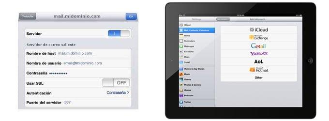 Configuración de correo electrónico POP3 con el iPad