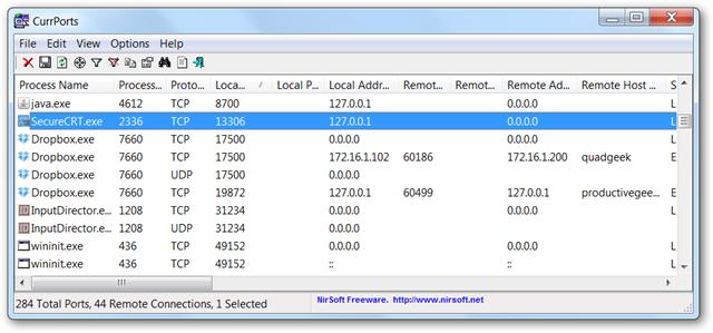 aplicacion ver puertos en windows