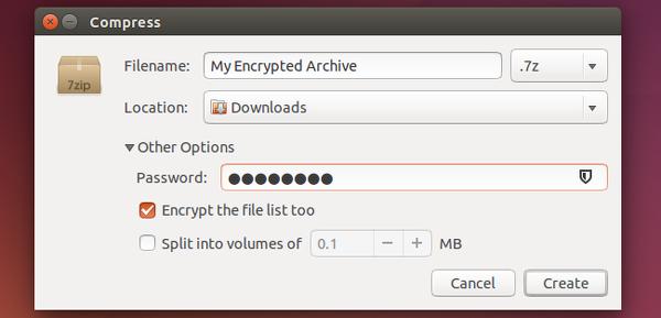 archivo comprimido contraseña ubuntu