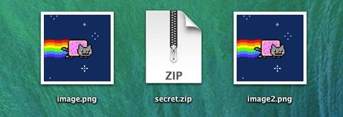archivo creado con archivo zip oculto