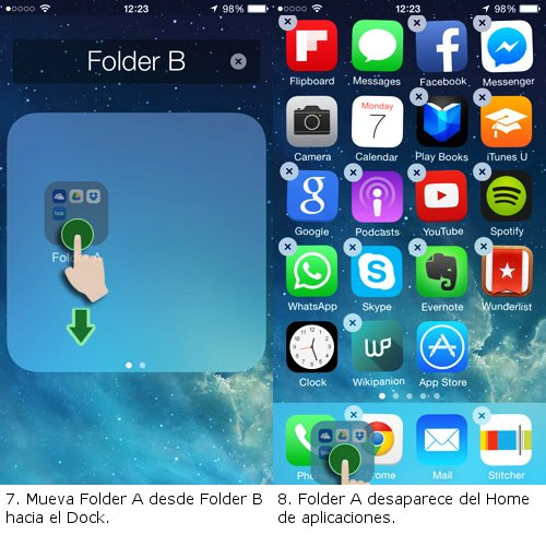 arrastrar folder a al dock ios 7