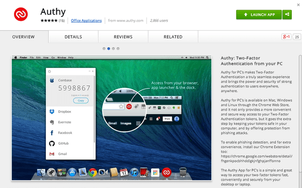 authy en google chrome