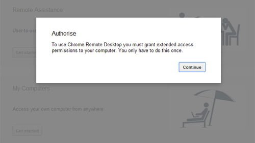 autorizacion google chrome remote desktop