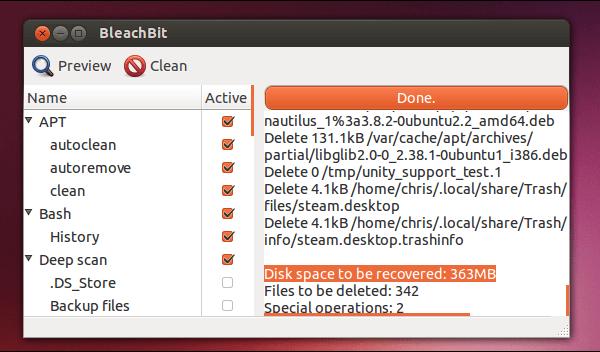 bleachbit limpiador linux