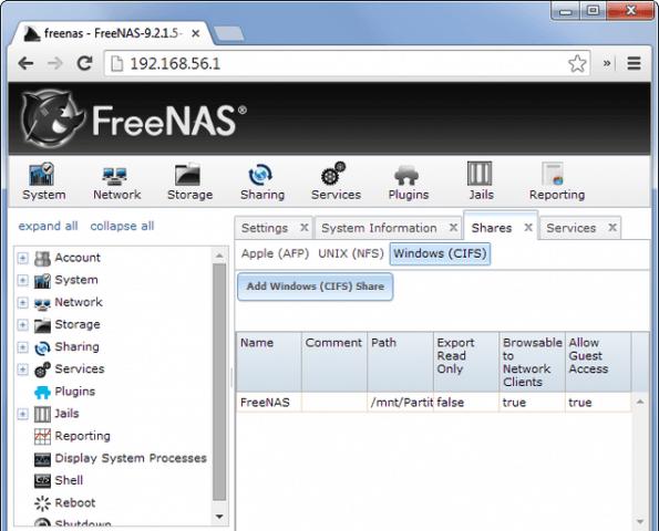 compartir archivos internet freenas