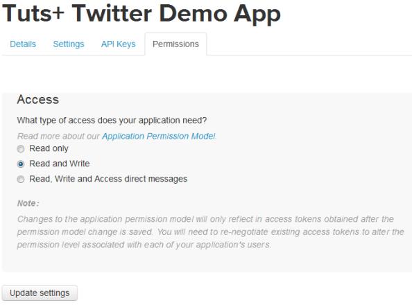 configurar permisos acceso aplicacion twitter