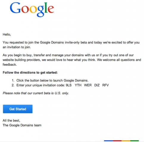 correo codigo de invitacion de google domains