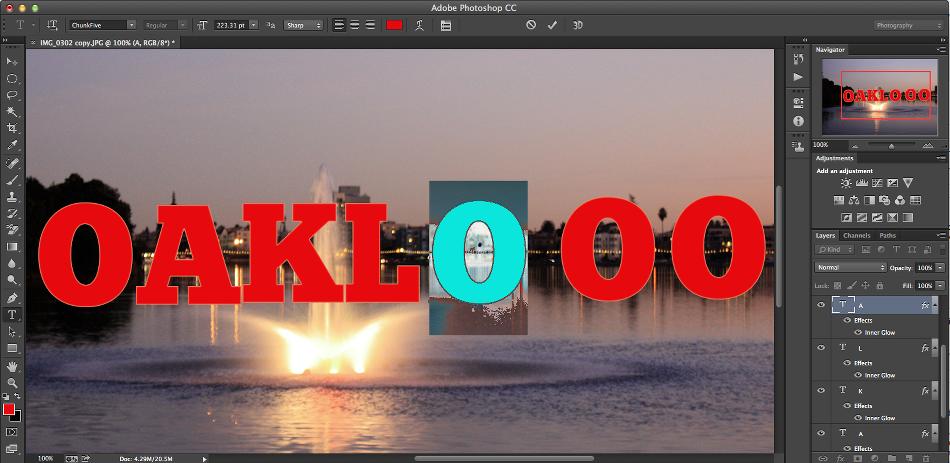 creando otras letras palabra photoshop