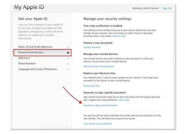 crear contraseña especifica en apple