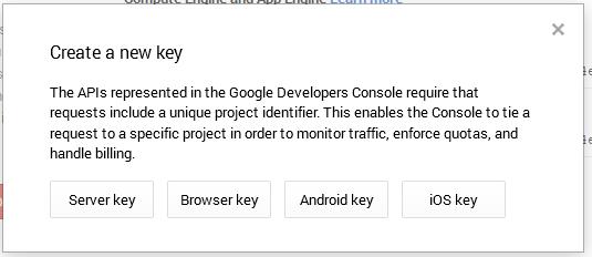 crear la llave para el server google