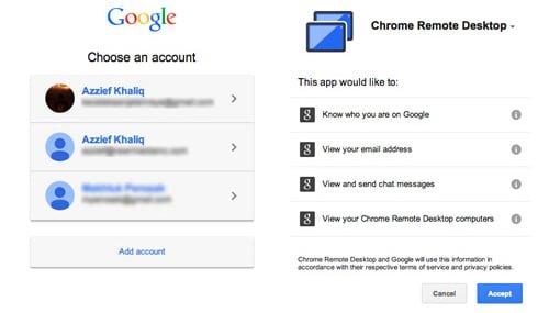 cuentas y permisos chrome remote desktop