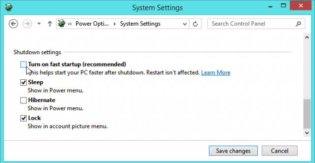 desactivar inicio rapido windows 8 wake on lan