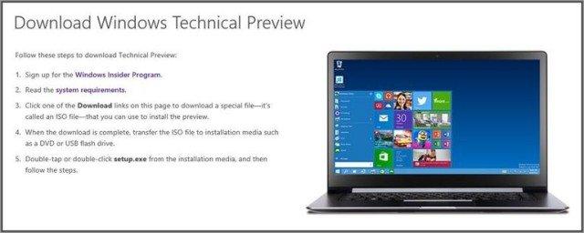descargar windows 10 technical preview