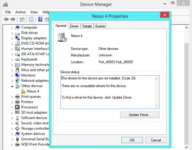 drives no disponibles dispositivos desconocidos