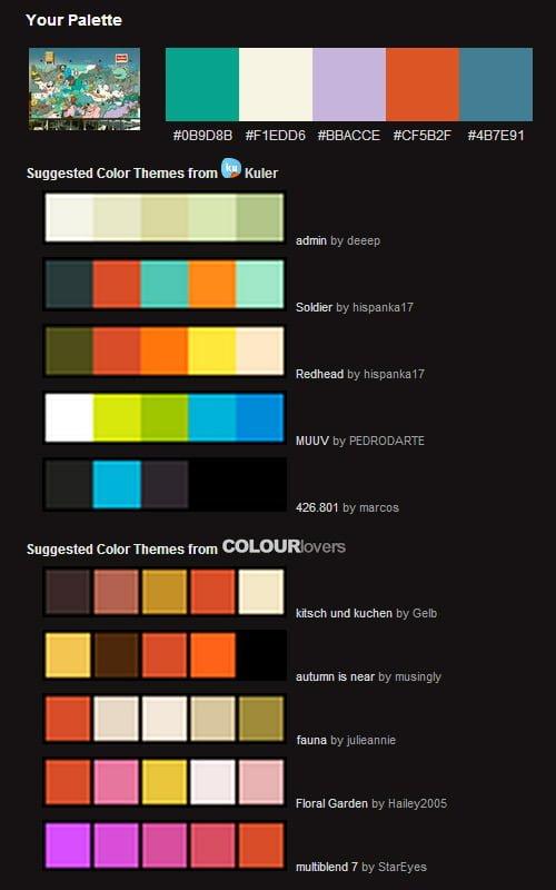 ejemplo paleta de colores por correo
