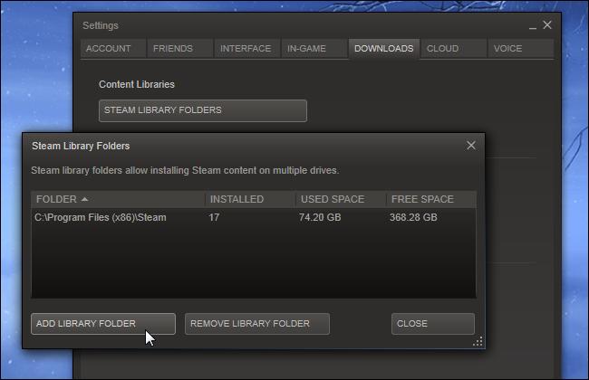 escoger biblioteca de juegos steam