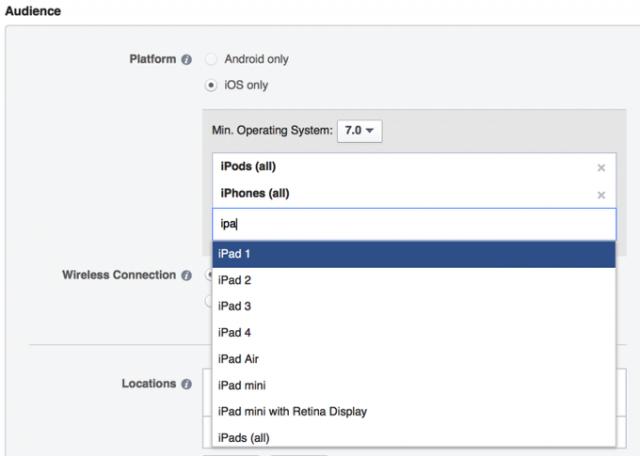 escoger en que dispositivo mostrar anuncios en facebook