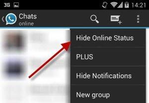 esconder estado de conexion whatsapp plus