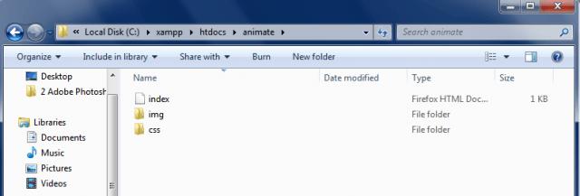 estructura de archivos animacion objeto css3