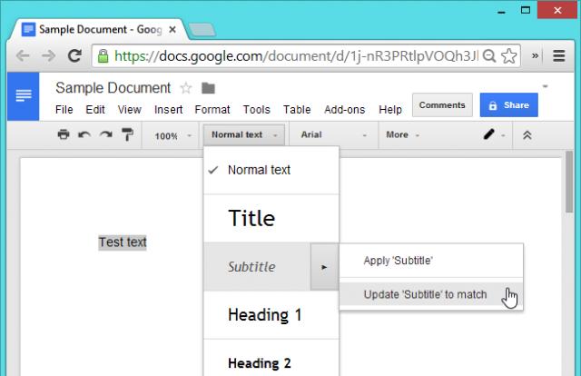 formato de texto en google docs