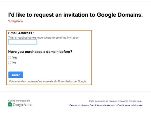 formulario peticion codigo google domains