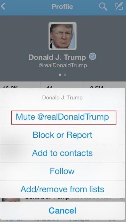 funcion mute twitter movil