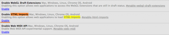 habilitar html import en google chrome