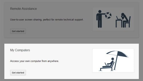 inicio aplicacion chrome remote desktop