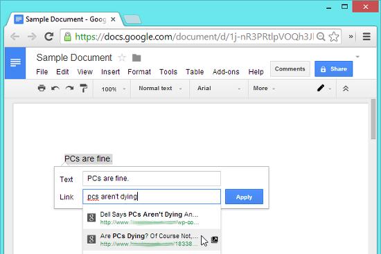 insertar enlaces google docs