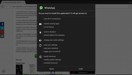 instalacion whatsapp en tablet con android