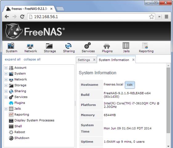 interfaz web freenas