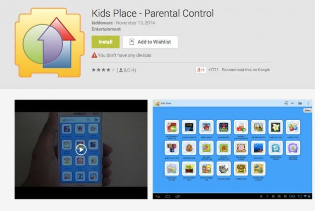 kids place aplicacion control parenta android