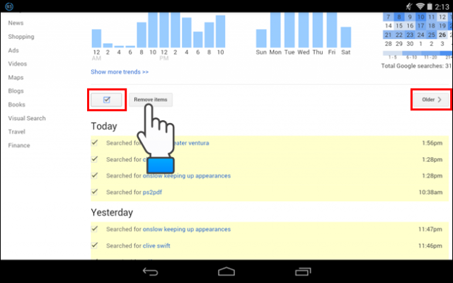 limpiar historial google desde android