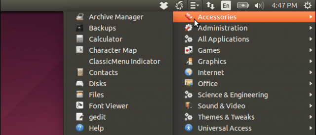 menu clasico gnome en ubuntu