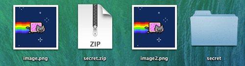 mostrando archivo oculto zip