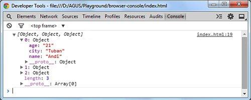mostrar datos array en consola del navegador