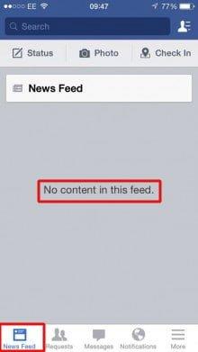 no feed problema facebook