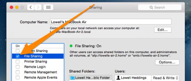 opcion compartir archivos mac