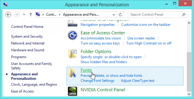 panel de control de tipografia en windows