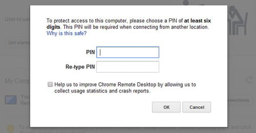pin chrome remote desktop
