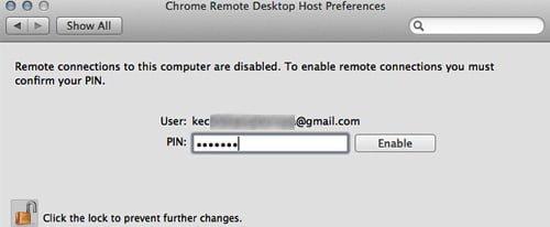 pin mac chrome remote desktop