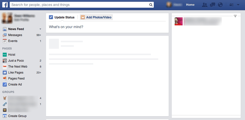 problem feed facebook fanpages