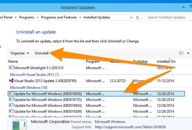 quitar actualizaciones problemas windows