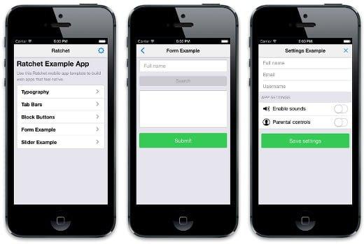 ratchet ejemplo desarrollo web app