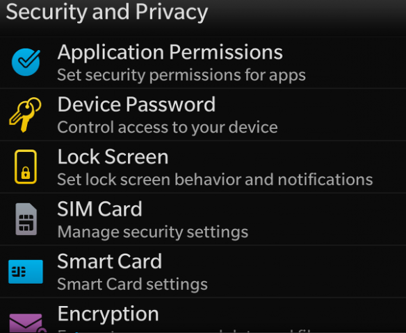 seguridad en dispositivo blackberry 10