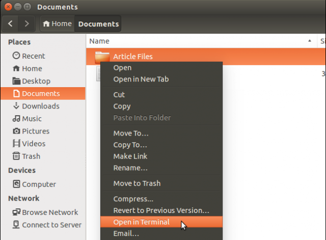 seleccion opcion abrir en terminal ubuntu